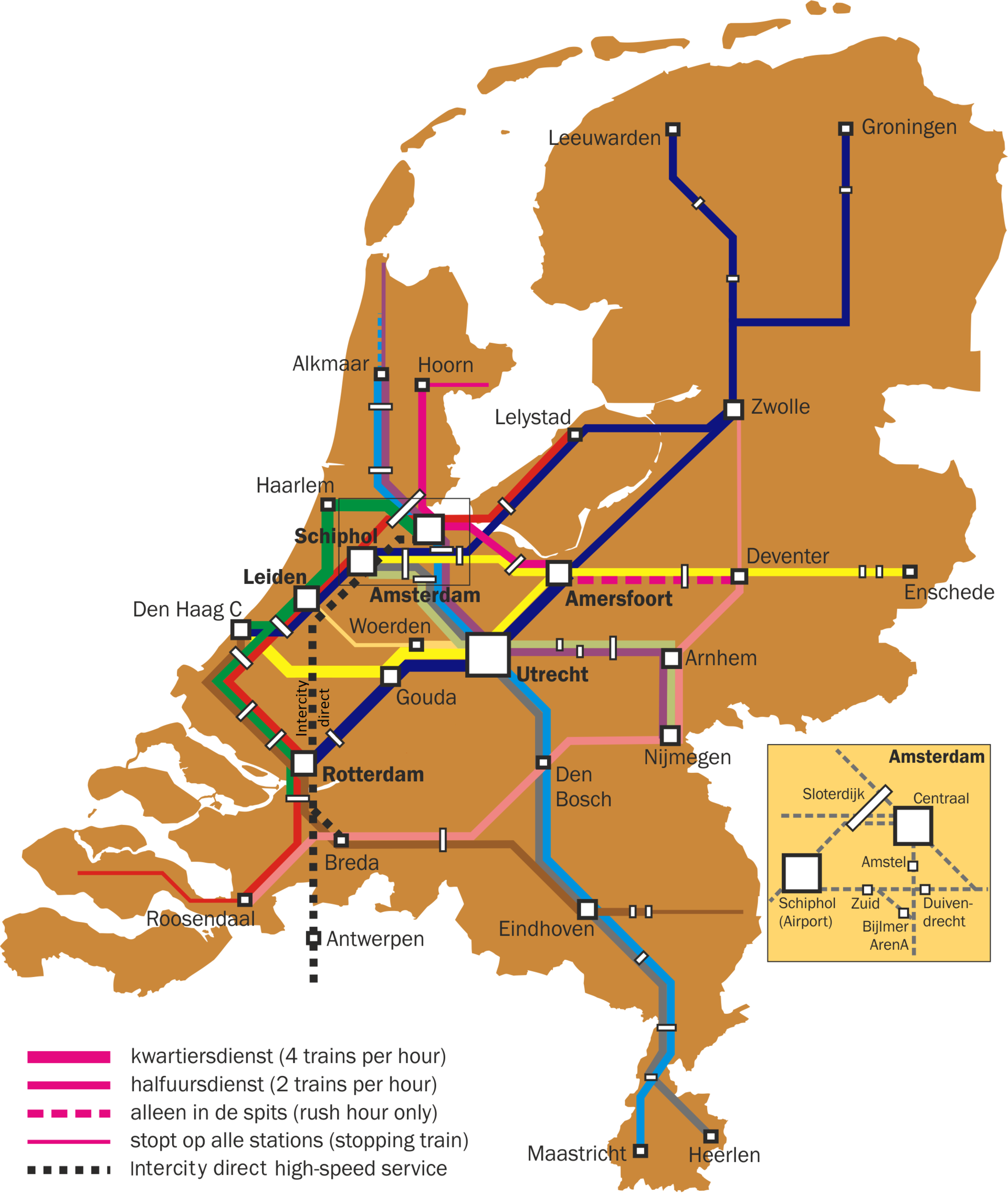 Train routes the Netherlands